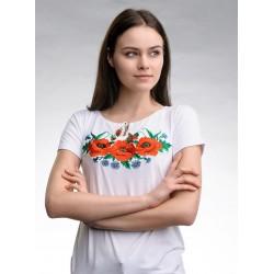 "Вишита жіноча футболка ""Маки"""